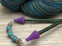 Turquoise Blue Stitch Saving Point Protector for Knitting Needles