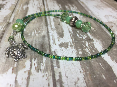 Turtle Beaded Bookmark in Green