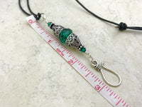 Vintage Style Beaded Portuguese Knitting Necklace- Stitch Marker  & ID Holder