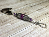 Antique Purple Portuguese Knitting Pin- Clip on ID Badge Pin , Portugese Knitting Pin - Jill's Beaded Knit Bits, Jill's Beaded Knit Bits  - 2