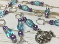 Wine In A Basket Stitch Marker Set , Stitch Markers - Jill's Beaded Knit Bits, Jill's Beaded Knit Bits  - 2