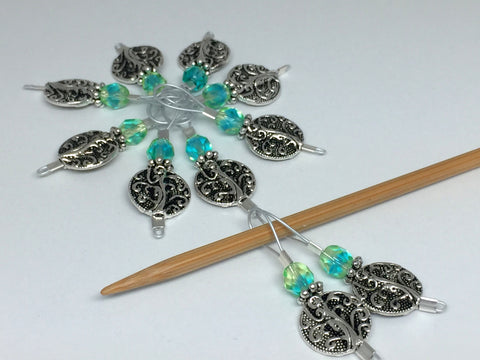Silver Vines Wire Loop Stitch Marker Set for Knitters