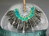 Silver Vines Wire Loop Stitch Marker Set for Knitters , Stitch Markers - Jill's Beaded Knit Bits, Jill's Beaded Knit Bits  - 2
