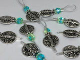 Silver Vines Wire Loop Stitch Marker Set for Knitters , Stitch Markers - Jill's Beaded Knit Bits, Jill's Beaded Knit Bits  - 6