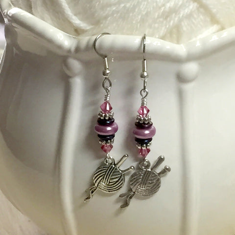 Ball of Yarn Dangle Earrings , jewelry - Jill's Beaded Knit Bits, Jill's Beaded Knit Bits  - 4