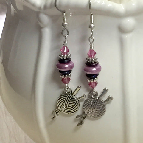 Ball of Yarn Dangle Earrings