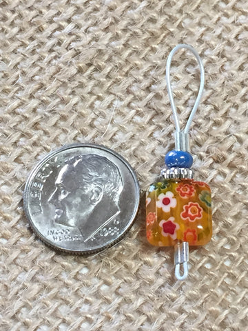 Yellow with Flowers Wire Loop Stitch Markers , Stitch Markers - Jill's Beaded Knit Bits, Jill's Beaded Knit Bits  - 4