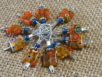 Yellow with Flowers Wire Loop Stitch Markers , Stitch Markers - Jill's Beaded Knit Bits, Jill's Beaded Knit Bits  - 1