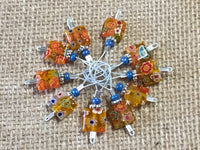 Yellow with Flowers Wire Loop Stitch Markers , Stitch Markers - Jill's Beaded Knit Bits, Jill's Beaded Knit Bits  - 5