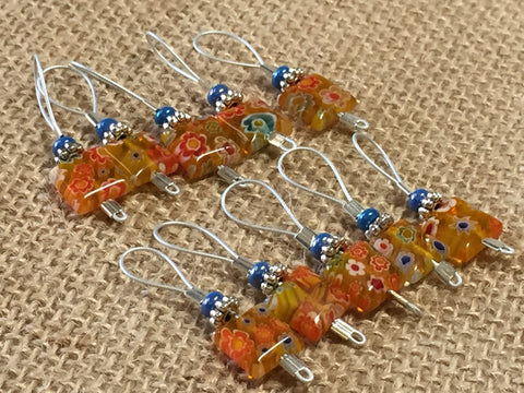 Yellow with Flowers Wire Loop Stitch Markers , Stitch Markers - Jill's Beaded Knit Bits, Jill's Beaded Knit Bits  - 2