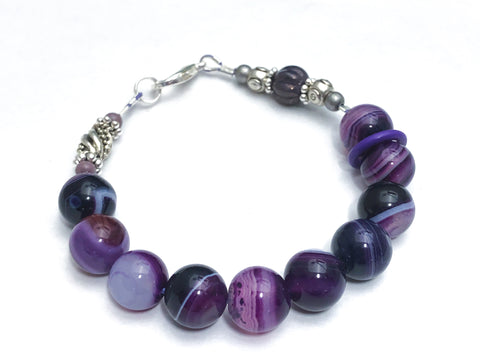 Purple Agate Abacus Row Counting Bracelet - Optional ADD 6 Stitch Markers