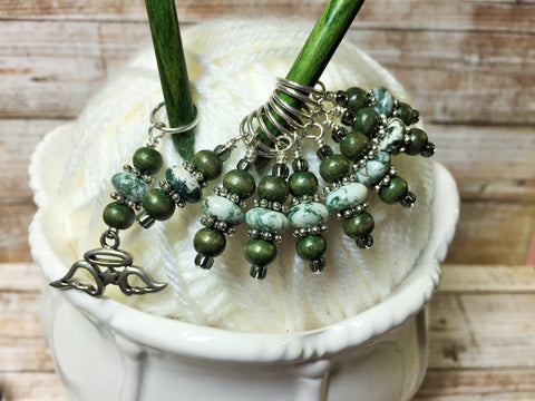 Snag Free Angel Wing Stitch Marker Set- Green 9 Pieces , Stitch Markers - Jill's Beaded Knit Bits, Jill's Beaded Knit Bits  - 1