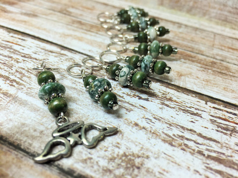 Snag Free Angel Wing Stitch Marker Set- Green 9 Pieces , Stitch Markers - Jill's Beaded Knit Bits, Jill's Beaded Knit Bits  - 6