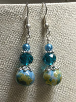 Aqua Green Speckle French Hook Wire Earrings- Surgcal Steel , jewelry - Jill's Beaded Knit Bits, Jill's Beaded Knit Bits  - 7