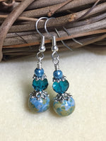 Aqua Green Speckle French Hook Wire Earrings- Surgcal Steel , jewelry - Jill's Beaded Knit Bits, Jill's Beaded Knit Bits  - 9
