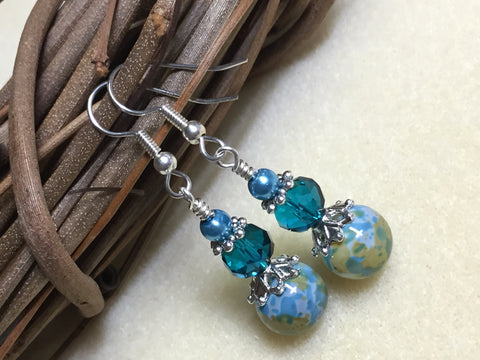 Aqua Green Speckle French Hook Wire Earrings- Surgcal Steel , jewelry - Jill's Beaded Knit Bits, Jill's Beaded Knit Bits  - 3