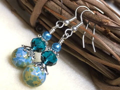Aqua Green Speckle French Hook Wire Earrings- Surgcal Steel , jewelry - Jill's Beaded Knit Bits, Jill's Beaded Knit Bits  - 2