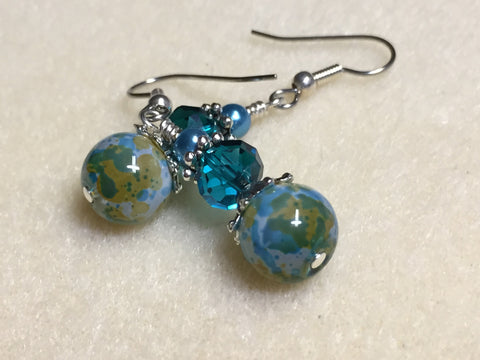 Aqua Green Speckle French Hook Wire Earrings- Surgcal Steel , jewelry - Jill's Beaded Knit Bits, Jill's Beaded Knit Bits  - 1