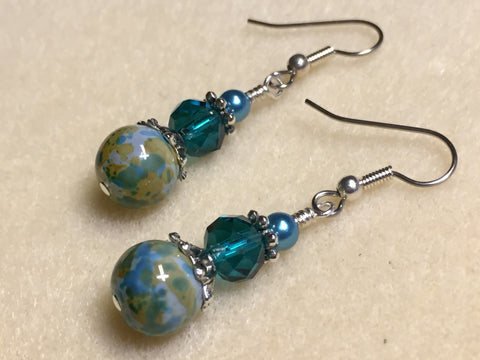 Aqua Green Speckle French Hook Wire Earrings- Surgcal Steel , jewelry - Jill's Beaded Knit Bits, Jill's Beaded Knit Bits  - 4