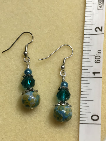 Aqua Green Speckle French Hook Wire Earrings- Surgcal Steel , jewelry - Jill's Beaded Knit Bits, Jill's Beaded Knit Bits  - 5
