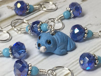 Baby Seal Stitch Marker Set- 9pc. Blue , Stitch Markers - Jill's Beaded Knit Bits, Jill's Beaded Knit Bits  - 1
