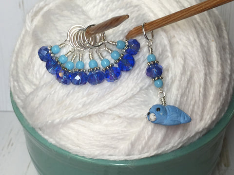 Baby Seal Stitch Marker Set- 9pc. Blue , Stitch Markers - Jill's Beaded Knit Bits, Jill's Beaded Knit Bits  - 4