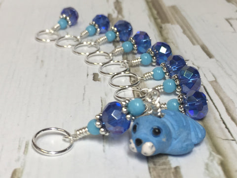Baby Seal Stitch Marker Set- 9pc. Blue , Stitch Markers - Jill's Beaded Knit Bits, Jill's Beaded Knit Bits  - 3