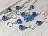 Baby Seal Stitch Marker Set- 9pc. Blue , Stitch Markers - Jill's Beaded Knit Bits, Jill's Beaded Knit Bits  - 5