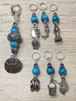 Beach Themed Stitch Marker Set and Matching Clip Holder , Stitch Markers - Jill's Beaded Knit Bits, Jill's Beaded Knit Bits  - 3