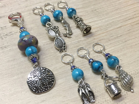 Beach Themed Stitch Marker Set and Matching Clip Holder , Stitch Markers - Jill's Beaded Knit Bits, Jill's Beaded Knit Bits  - 1