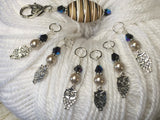 6 Owl Stitch Markers And Beige Stitch Marker Holder- Snag Free , Stitch Markers - Jill's Beaded Knit Bits, Jill's Beaded Knit Bits  - 2