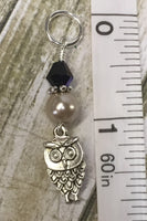 6 Owl Stitch Markers And Beige Stitch Marker Holder- Snag Free , Stitch Markers - Jill's Beaded Knit Bits, Jill's Beaded Knit Bits  - 5