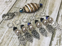 6 Owl Stitch Markers And Beige Stitch Marker Holder- Snag Free , Stitch Markers - Jill's Beaded Knit Bits, Jill's Beaded Knit Bits  - 6
