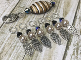 6 Owl Stitch Markers And Beige Stitch Marker Holder- Snag Free , Stitch Markers - Jill's Beaded Knit Bits, Jill's Beaded Knit Bits  - 1