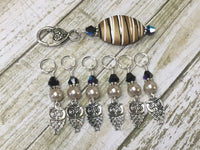 6 Owl Stitch Markers And Beige Stitch Marker Holder- Snag Free , Stitch Markers - Jill's Beaded Knit Bits, Jill's Beaded Knit Bits  - 7