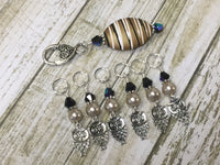 6 Owl Stitch Markers And Beige Stitch Marker Holder- Snag Free , Stitch Markers - Jill's Beaded Knit Bits, Jill's Beaded Knit Bits  - 8