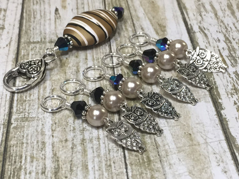 6 Owl Stitch Markers And Beige Stitch Marker Holder- Snag Free , Stitch Markers - Jill's Beaded Knit Bits, Jill's Beaded Knit Bits  - 9