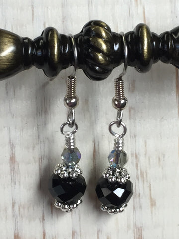 Black Crystal Beaded Dangle Earrings , jewelry - Jill's Beaded Knit Bits, Jill's Beaded Knit Bits  - 2