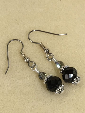 Black Crystal Beaded Dangle Earrings , jewelry - Jill's Beaded Knit Bits, Jill's Beaded Knit Bits  - 7