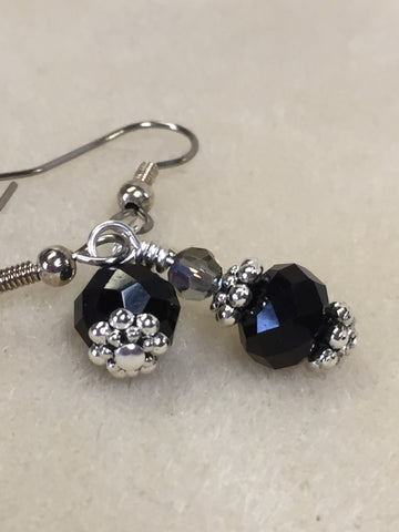 Black Crystal Beaded Dangle Earrings , jewelry - Jill's Beaded Knit Bits, Jill's Beaded Knit Bits  - 8