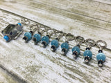 Snag Free Stitch Marker Set- Blue Crystal & Cats Eye , Stitch Markers - Jill's Beaded Knit Bits, Jill's Beaded Knit Bits  - 2