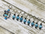 Snag Free Stitch Marker Set- Blue Crystal & Cats Eye , Stitch Markers - Jill's Beaded Knit Bits, Jill's Beaded Knit Bits  - 3