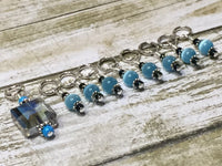 Snag Free Stitch Marker Set- Blue Crystal & Cats Eye , Stitch Markers - Jill's Beaded Knit Bits, Jill's Beaded Knit Bits  - 4