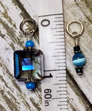 Snag Free Stitch Marker Set- Blue Crystal & Cats Eye , Stitch Markers - Jill's Beaded Knit Bits, Jill's Beaded Knit Bits  - 5