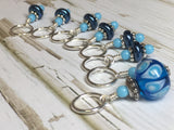 Glass Bead & Pearl Stitch Marker Set- Dark Blue , Stitch Markers - Jill's Beaded Knit Bits, Jill's Beaded Knit Bits  - 3