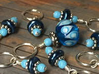 Glass Bead & Pearl Stitch Marker Set- Dark Blue , Stitch Markers - Jill's Beaded Knit Bits, Jill's Beaded Knit Bits  - 9