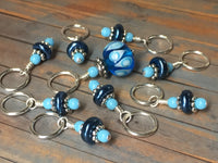 Glass Bead & Pearl Stitch Marker Set- Dark Blue , Stitch Markers - Jill's Beaded Knit Bits, Jill's Beaded Knit Bits  - 10