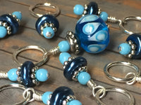 Glass Bead & Pearl Stitch Marker Set- Dark Blue , Stitch Markers - Jill's Beaded Knit Bits, Jill's Beaded Knit Bits  - 1