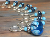 Glass Bead & Pearl Stitch Marker Set- Dark Blue , Stitch Markers - Jill's Beaded Knit Bits, Jill's Beaded Knit Bits  - 4