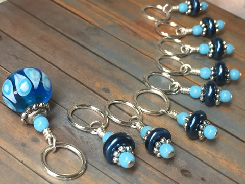 Glass Bead & Pearl Stitch Marker Set- Dark Blue , Stitch Markers - Jill's Beaded Knit Bits, Jill's Beaded Knit Bits  - 5
